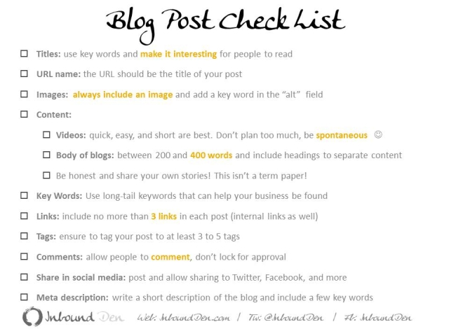 Blog Post Check List for Conscious Businesses